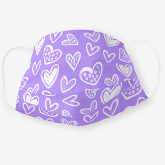 Any Color! Doodle Hearts Sketch on Lavender Purple Adult Cloth Face Mask