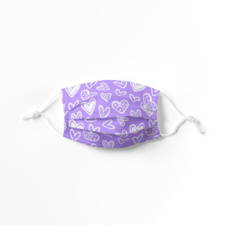 Any Color! Doodle Hearts Sketch on Lavender Purple Kids' Cloth Face Mask