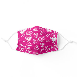Any Color! Doodle Hearts Sketch on Magenta Pink Adult Cloth Face Mask