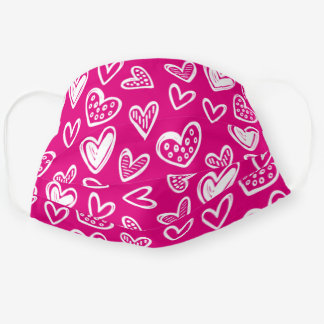 Any Color! Doodle Hearts Sketch on Magenta Pink Cloth Face Mask