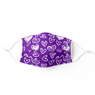 Any Color! Doodle Hearts Sketch on Purple Adult Cloth Face Mask