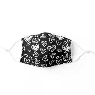 Any Color! Doodle Hearts Sketch on Solid Black Adult Cloth Face Mask