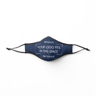 Any Color & Text Business Company Logo Navy Blue Premium Face Mask