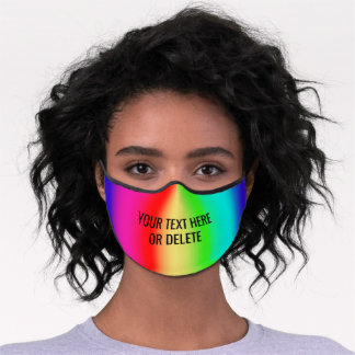 Any Text Colorful Rainbow Striped Pattern Cute Premium Face Mask