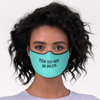 Any Text / Quote Heathered Pattern Cute Teal Blue Premium Face Mask