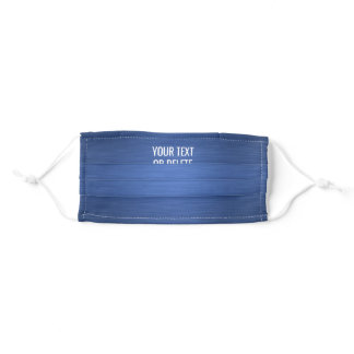 Any Text / Quote Heathered Pattern Elegant Blue Adult Cloth Face Mask