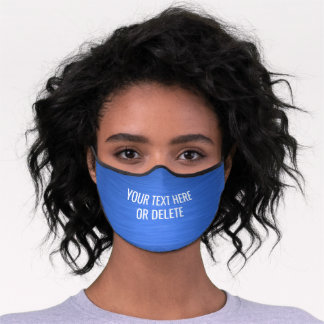 Any Text / Quote Heathered Pattern Elegant Blue Premium Face Mask