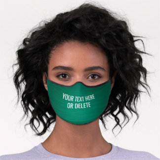 Any Text / Quote Heathered Pattern Elegant Green Premium Face Mask
