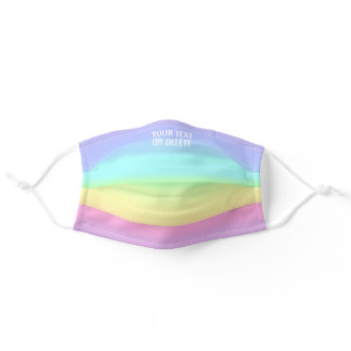 Any Text Quote Pastel Cute Rainbow Striped Pattern Adult Cloth Face Mask