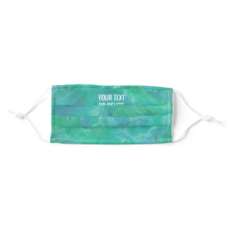 Any Text Quote Watercolor Pattern Teal Blue Green Adult Cloth Face Mask