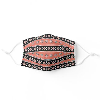 Apricot and Black Stripes and Diamonds Adult Cloth Face Mask