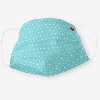 Aqua and White Polka Dot with Red Heart Pattern Cloth Face Mask