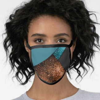 Aqua blue and bronze sparkles modern color block face mask