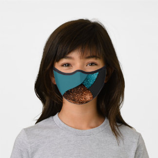 Aqua blue and bronze sparkles modern color block premium face mask