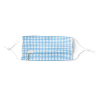 aqua gingham with daisies adult cloth face mask