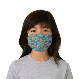 Aqua Green Turquoise Blue Pink Floral Paisley Art Kids' Cloth Face Mask
