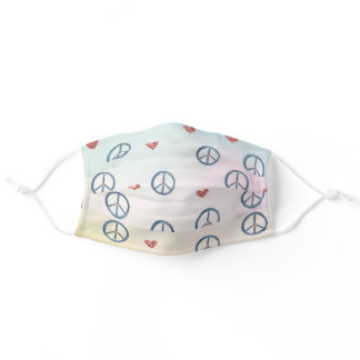 Aqua Pink Yellow Tie Dye Peace Sign with Hearts Adult Cloth Face Mask