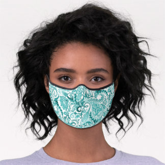 Aqua Seaglass Green Teal Blue White Floral Paisley Premium Face Mask