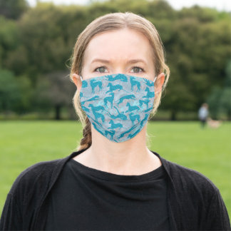 Aquamarine Greyhounds on Blue Marble Adult Cloth Face Mask