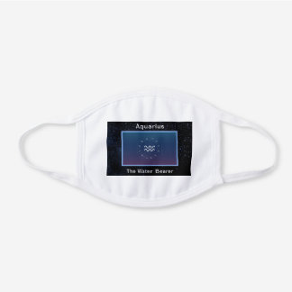 Aquarius Astrology New Age Water Bearer White Cotton Face Mask