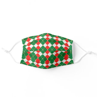 Argyle Pattern Red Green White Gold Christmas Adult Cloth Face Mask