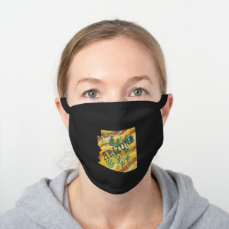 ARIZONA STATE Illustrated Map Black Cotton Face Mask