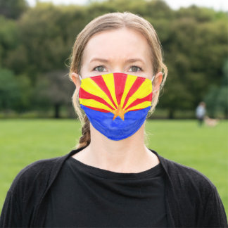 Arizona Watercolor Flag Hand Painted Adult Cloth Face Mask