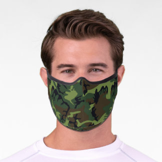 Army camouflage print camo brown olive green men premium face mask