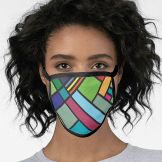 Art deco stained glass geometric design face mask