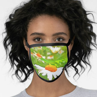 Artistic Bright Colorful White Garden Daisies v5 Face Mask