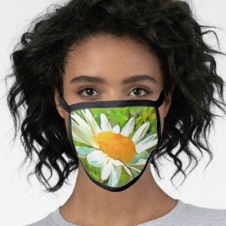 Artistic Bright Colorful White Garden Daisies v6 Face Mask