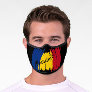 Artistic Brushstroke Romania Flag Premium Face Mask
