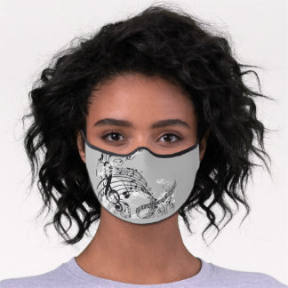 Artistic Musical Notes Premium Face Mask