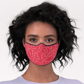 Artsy Heart Doodles Art Pattern On Coral Pink Red Premium Face Mask