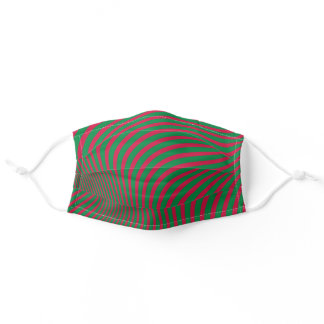 Artsy Op-Art Red Green Christmas Zebra Stripes MOD Adult Cloth Face Mask