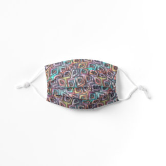 Artsy Pink Purple Turquoise Blue Wavy Squares Kids' Cloth Face Mask