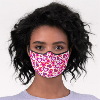 Artsy Pink Red Purple Violet Heart Art Pattern Premium Face Mask
