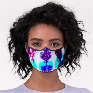 Artsy Summer Pink Blue Colorful Tie Dye Safety Premium Face Mask