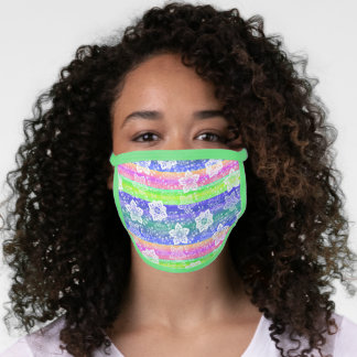 Artsy White Paisley Blue Pink Lime Green Stripe Face Mask