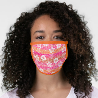 Artsy White Paisley Bright Pink Orange Stripes Face Mask