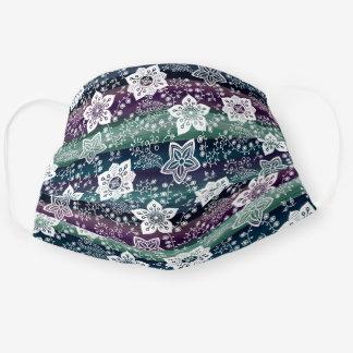 Artsy White Paisley Dark Purple Teal Blue Stripes Cloth Face Mask