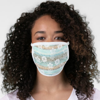 Artsy White Paisley Mint Green Teal Blue Stripes Face Mask