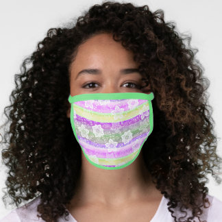 Artsy White Paisley Pink Lime Green Purple Stripes Face Mask