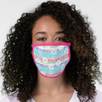 Artsy White Paisley Turquoise Blue Pink Stripes Face Mask
