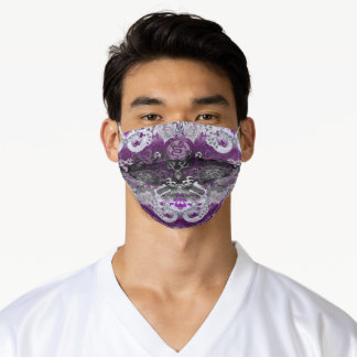 Asexual Dragon Damask - Ace Pride Flag Colors Adult Cloth Face Mask