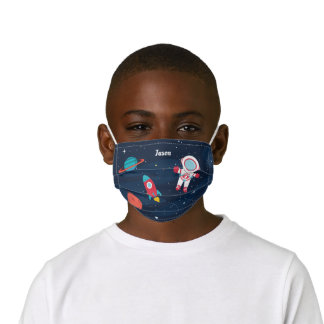 Astronaut Outer Space Rocket Ship Personalized Kids' Cloth Face Mask