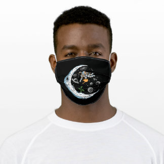 Astronaut plant trees on the moon adult cloth face mask