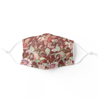 Auburn | Tropical Fantasy Boho Floral Pattern Adult Cloth Face Mask