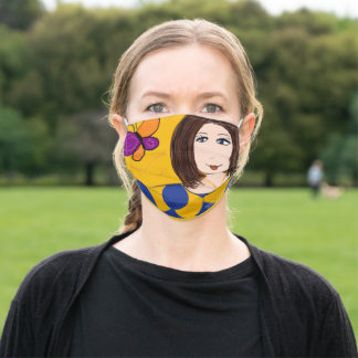 AUGUSTIN LADY WITH BUTTERFLY - ADULT CLOTH FACE MASK
