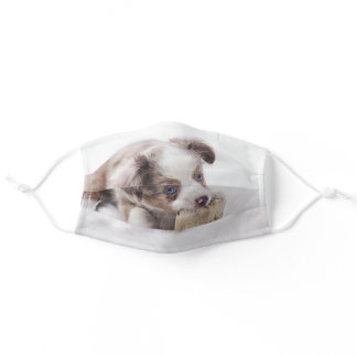 aussie red merle pup adult cloth face mask